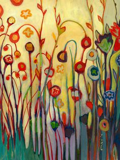 Garden Floral Abstract  Unfolded   Fine Art Print by by jenlo262