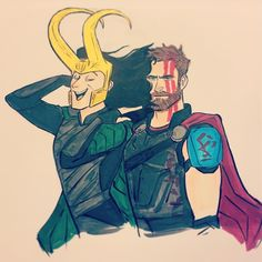 Erin Kavanagh (@burnbadart) «Thor looks into the camera like he's on the office  #Loki #Thor #thorragnarok