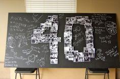 DIY giant number photo collage + chalkboard via NoBiggie.net