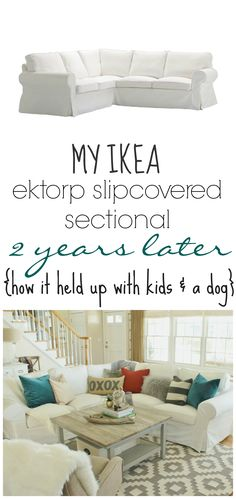 """I like the construction of this slipcover. """"My Ikea Ektrop Sectional 2 years Later-How it held up with kids & a dog"""""""