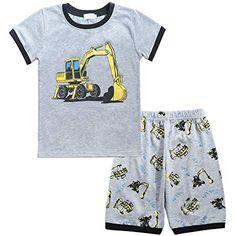 f211ee0af6 YoungSoul Jungen Schlafanzüge Kurz Baumwolle Nachtwäsche Sommer Kurzarm Pyjama  Kinder Schlafanzug Bagger #Bekleidung #Jungen