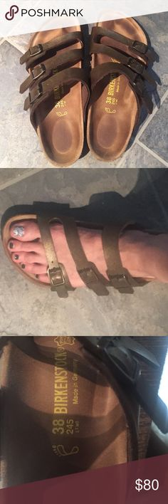 Birkenstock Florida 38. Three strap golden brown. Three strap, Florida golden brown colored birkenstock 38 regular. These are original Birks and not the cheaper ones licensed for Payless. EUC. Barely worn. Listed as L7 M5 but could fit an 8. Birkenstock Shoes Sandals