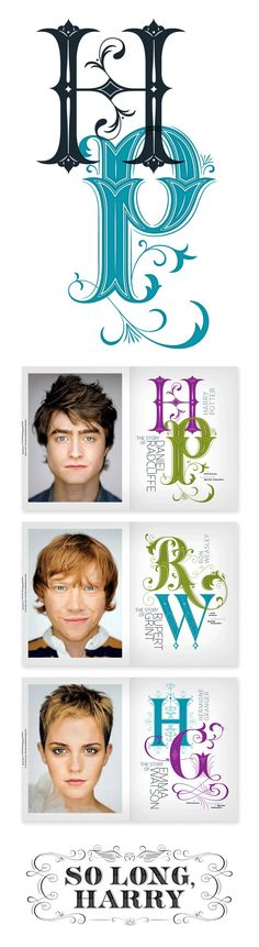 Typography  Harry Potter work by Jessica Hische for Entertainment Weekly  #typography #de