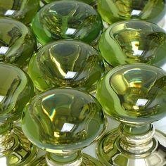 Color Verde Olivo - Olive Green!!!  Glass Door Knobs