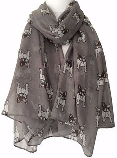 French Bulldogs Scarf Large grey scarf with a French Bulldog print long wide and very soft It measures approx 72 inch 180 cm in length approx 37 inch