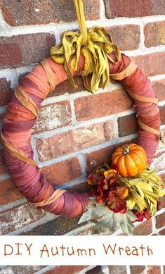 Whatever reason you choose to create a celebration calls for a wreath to decorate your space. This DIY autumn wreath is gorgeous because it is made with Sari Ribbon Yarn from Darn Good Yarn. It has been dyed into beautiful fall colors so make a perfect addition to any room or door. #autumndecor #falldecor #wreath #diy #diydecor #handmade Diy Fall Wreath, Autumn Wreaths, Summer Wreath, Christmas Wreaths, Easy Craft Projects, Craft Ideas, How To Make A Pom Pom, Ribbon Yarn