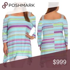 """BLOWOUT! (Plus) cold shoulder top 96% rayon/ 4% spandex. Bust stretches beyond measurements. Slightly oversized- I am a 2x and the 1x fits me.  1x: Measures 33"""" at shortest point, 43"""" at longest, and has a 46"""" bust.  2x: Measures 34"""" at shortest point, 44"""" at longest, and has a 47"""" bust.  3x: Measures 35"""" at shortest point, 45"""" at longest, and has a 48"""" bust.  Availability: 1x•2x•3x • 0•2•2 ⭐️This item is BNWOT. Boutique tags added on request.  🚫NO TRADES 💲Price is firm unless bundled…"""