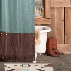 Cheyenne+Faux+Tooled+Leather+Shower+Curtain