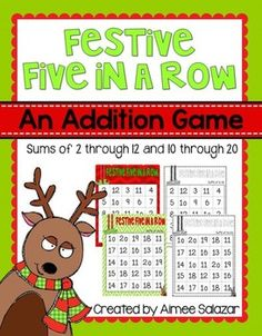 FREE! Here is a holiday twist on an old favorite!  Five in a Row is a long standing favorite in my classroom. This version has been designed for use during the month of December when the students; minds are focused on reindeer, elves, and cookies.