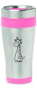 $15    Hot Pink Stainless Steel 16oz Insulated Travel Coffee Mug Cute Giraffe Cartoon