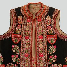 Mans vest of black wool. Embroidery and sequins. Trimmed with red wool. Hand-sewn. Łemko Folk (the so-called Rusin Szlachtowski Folk), former village of Biała Woda, currently part of village of Jaworki near Szczawnica, P. Nowy Targ, 1930s