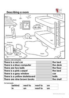 Describing a room - English ESL Worksheets for distance learning and physical classrooms English Primary School, Kids English, English Lessons, Teaching English, Learn English, French Lessons, Spanish Lessons, Teaching Spanish, Learn French