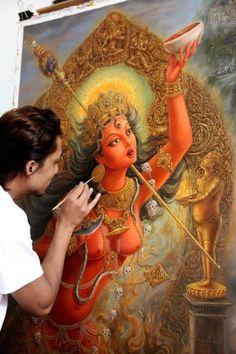 Samundra Man Singh Shrestha at work at vajrayogini painting