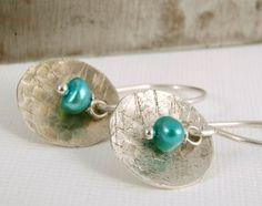 Hammered Sterling Silver Dangle Earrings Blue by LindenLeafStudio, $19.50