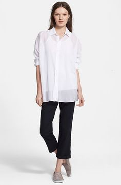 Charlotte Gainsbourg for Current/Elliott 'The Loose Shirt' Cotton Shirt available at #Nordstrom