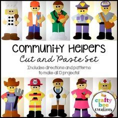 This is a community helpers cut and paste set that includes patterns and directions to make a fire fighter, policeman, postman, veterinarian, doctor, nurse, teacher, construction worker, farmer, and chef.  It includes all the necessary templates for xeroxing.