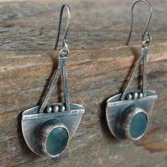 srebrne kolczyki z chalcedonem - Kolczyki - Biżuteria