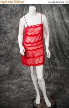 a7af6e1f7c1e8 Vintage Lanvin Lingerie Nightgown Short Sheer Red RARE 70s