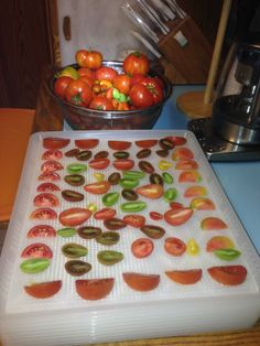 Last of the season's tomatoes - We hare dehydrating them to make Sun Dried Tomatoes in Olive Oil.