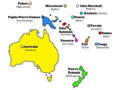Mapa de Oceanía (países y capitales)