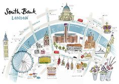 Alice Tait - illustrated map of South Bank, London Westminster, Plan Ville, Wanderlust, Unique Maps, Litho Print, Map Design, London Calling, Illustrations, Map Art