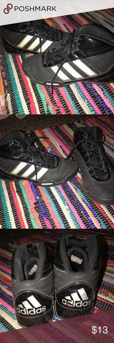 Black adidas basketball sneakers I used these for Basketball my freshman year of high school that is why there is some wear. I figured they could be useful to someone else though, I loved them so much. Comment with questions and make an offer if you'd like! adidas Shoes Sneakers