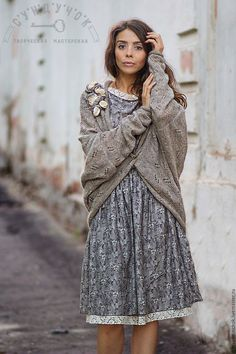"""Boho clothes set   Купить Комплект с платьем"""" Серая вуаль тумана"""" - цветочный, серый, комплект с платьем, нарядное платье"""