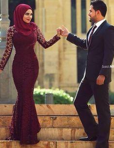 Kaftan High Neck Mermaid Black Appliques Hijab Long Sleeve Muslim Dress Dubai Arabic Style Red New Evening Gowns Dresses
