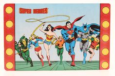 DC Comics bande dessinée Rare collection Vintage Store cartes 1982 Super héros publicité affichage Unique merveille femme Superman Batman