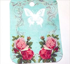 White Butterfly Gift Tags  Set of 6  French Blue Tags by SiriusFun