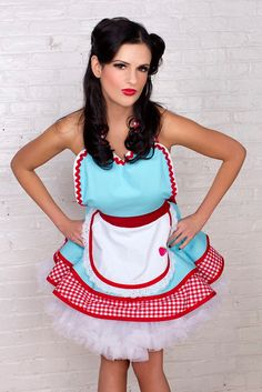 Dotties Diner Retro 50s Diner Waitress Apron Aqua and Red  Womens by dottiesdiner on Etsy https://www.etsy.com/listing/90497602/dotties-diner-retro-50s-diner-waitress