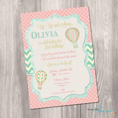 Hot air balloon invitation  Shabby chic by StyleswithCharm on Etsy
