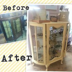 Mahogany glass cabinet transformed with Autentico Vintage (contains chalk) paint. Painted in Autentico Sunflower and Huile de Noix. #autentico #homedecor #diy #autenticopaint #upcycle #earthpaint #vintage #chalkpaint