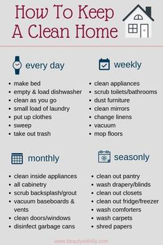 How To Keep A Clean Home declutter How To Keep A Clean Home // Habits of People.How To Keep A Clean Home declutter How To Keep A Clean Home // Habits of People Who Always Have A Clean Home // Cleaning Tips & Tricks // Cleaning Hacks House Cleaning Checklist, Clean House Schedule, Household Cleaning Tips, Diy Cleaning Products, Cleaning Hacks, Bedroom Cleaning Tips, New House Checklist, Cleaning Tips For Home, Apartment Cleaning Schedule