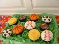 Sports Cupcakes - basketball tennis baseball soccer [Cupcake Tuesday ~ Fun Birthday Cupcakes]