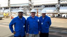 Chelsom dream team out and about on site at our biggest ever marine project.it's a monster new build that's for sure