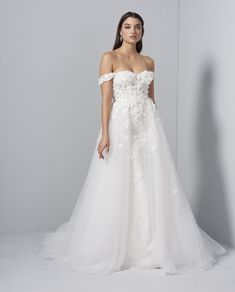 Style 92009 Flora Lucia by Allison Webb bridal gown - Ivory lace fit to flare gown. Sheer strapless sweetheart bodice with off-the- shoulder straps and cascading floral beaded lace appliques over sequined net skirt. In stores early Designer Collection, Bridal Collection, Bridal Gowns, Wedding Gowns, Flora Bridal, Designer Gowns, Beaded Lace, Lace Applique, Dream Dress
