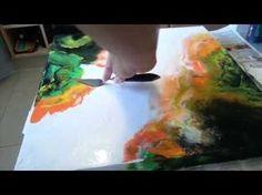 Abstract Fluid Painting, Abstrakte Malerei, Acrylmalerei mit Blau und Weiss - YouTube