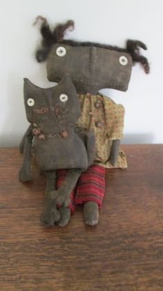 Black Doll with Cat by Bettesbabies on Etsy, $46.00