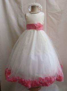 Rose Petal Dress Ivory Flower Girl Dress by mykidstudio on Etsy, $38.50