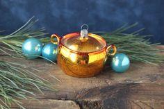 Vintage Glass Handled Pot Christmas by PhoebesTreasureChest