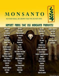 #Boycott foods that use #Monsanto products. If everyone stopped avoided these foods for a month they would lose billions!