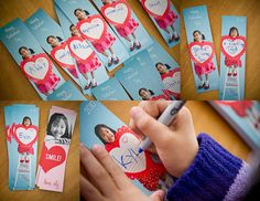 Bookmarks...I've done this before using Photoshop.  Works great on a 4x6 photo (two 2x6 images on same print, then cut apart).  We backed them with printed cardstock with our message & punched a hole in the top, added ribbon with decorative jewels & charms.