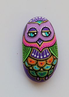 Hand Painted Pebble Owl/handpainted Owl