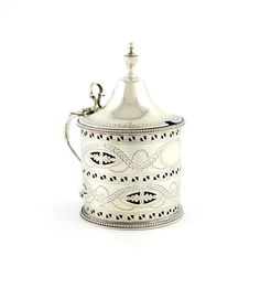 A George III silver mustard pot, London 1785 by Hester Bateman Wallis, Georgian, Decorative Bells, Mustard, Pots, Jar, London, Silver, Georgian Language