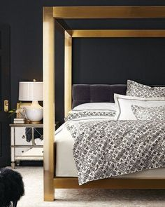 Shop Gilded Pressley King Bed from Bernhardt at Horchow, where you'll find new lower shipping on hundreds of home furnishings and gifts. Home Bedroom, Master Bedroom, Bedroom Decor, Bedroom Ideas, Dream Bedroom, Modern Bedroom, Master Suite, Upholstered Furniture, Bedroom Furniture
