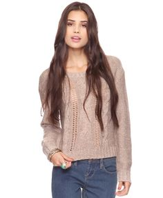 Melange Cable Knit Sweater - StyleSays