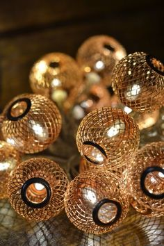 Copper lantern light string