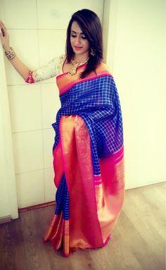 Trisha Krishnan in kanchipuram silk sari with contrast blouse South Indian Sarees, Indian Silk Sarees, Ethnic Sarees, Indian Sarees Online, South Indian Bride, Indian Bridal, Indian Attire, Indian Wear, Indian Outfits