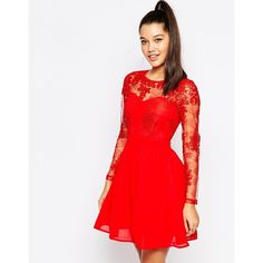 Missguided Lace Sleeve Prom Dress (430 DKK) ❤ liked on Polyvore featuring dresses, red, white bustier, white bustier dress, red cocktail dress, white prom dresses and lace sleeve prom dress